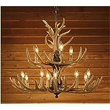 Twelve Light Deer Antler Chandelier Lighting - 36in. Chain