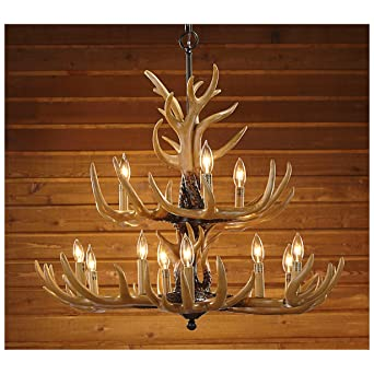 Twelve Light Deer Antler Chandelier Lighting   36in. Chain     Amazon.com