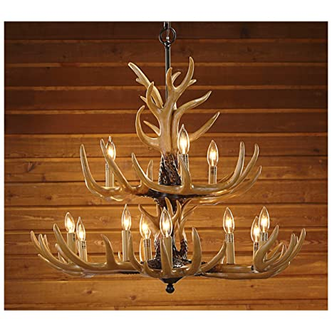 Twelve Light Deer Antler Chandelier Lighting   36in. Chain