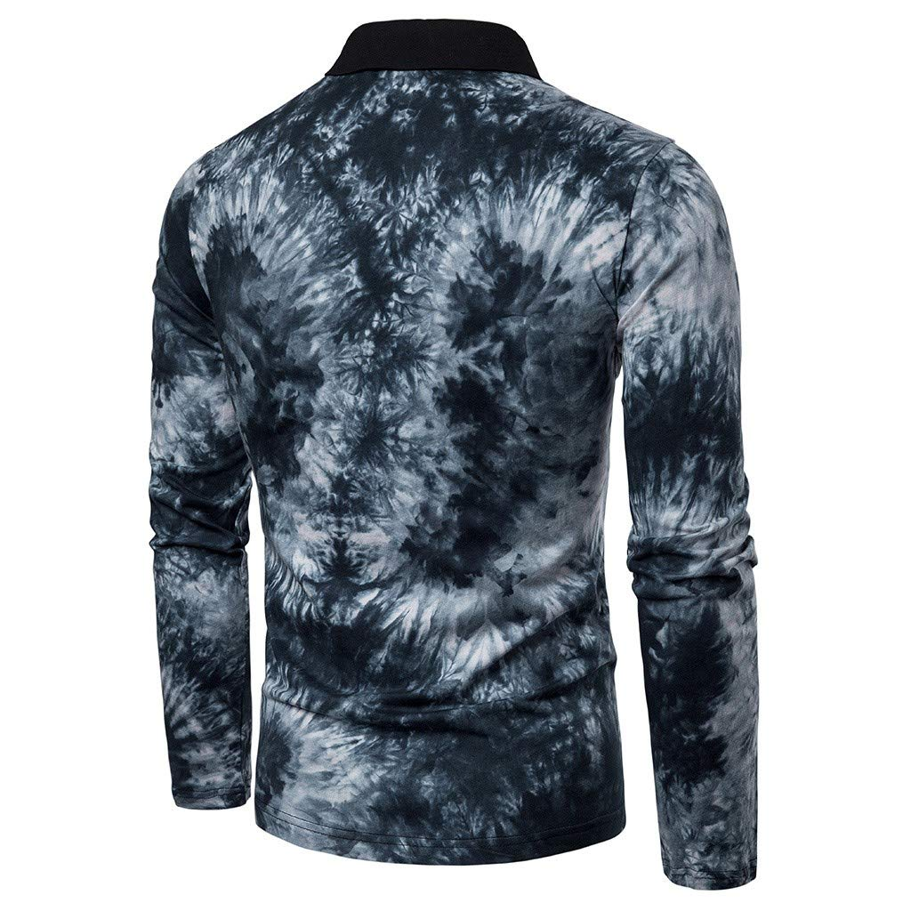 Allywit Shirts for Men Big Deals Mens Casual Retro Color Patchwork Long Sleeve T Shirt Slim Fit Tops Business Blouse
