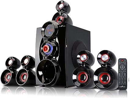 beFree Sound BFS-9, 9.9 Channel Surround Sound Bluetooth Speaker System,  Red