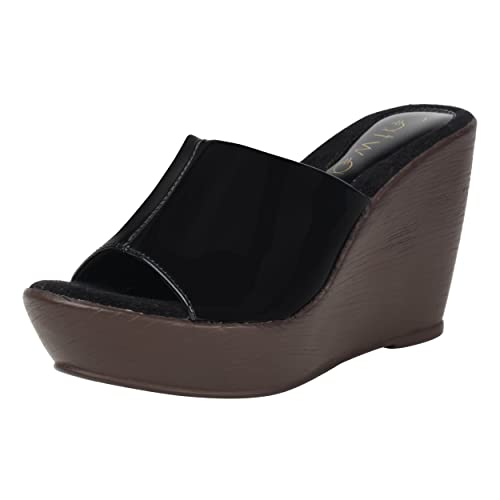 a6cb8273b Catwalk Black Slip-on Heel Wedges Sandals  Buy Online at Low Prices in India  - Amazon.in