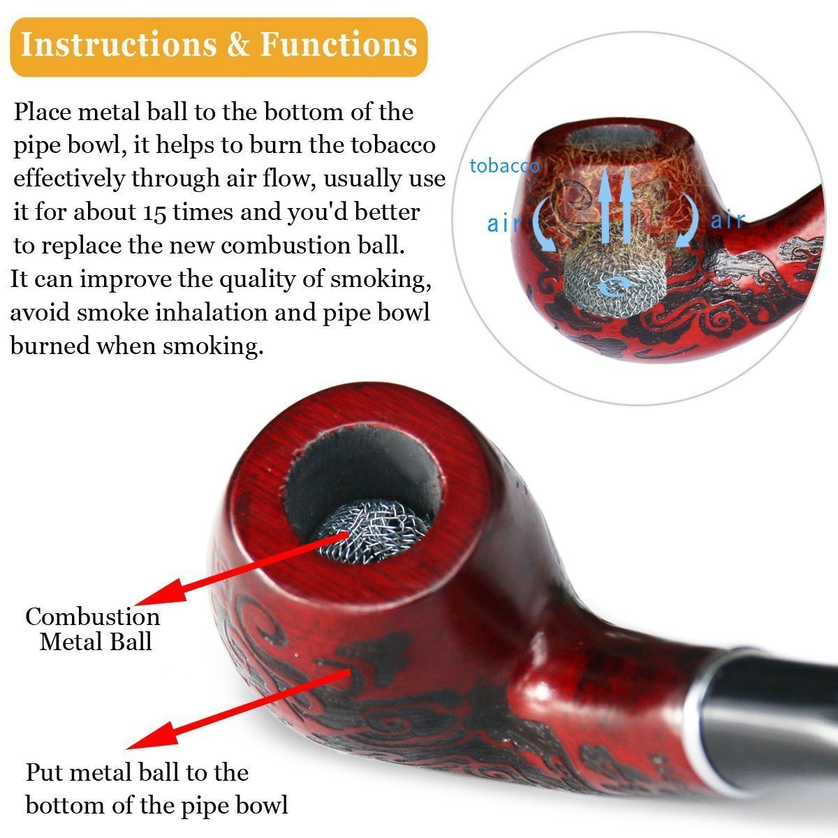 Joyoldelf Wooden Cigarette Tobacco Smoking Pipe with 3-in-1 Pipe Scraper +  2 Cork Knockers + 10 Pipe Cleaners + 2 Metal Screen Percolator Leach Nets +