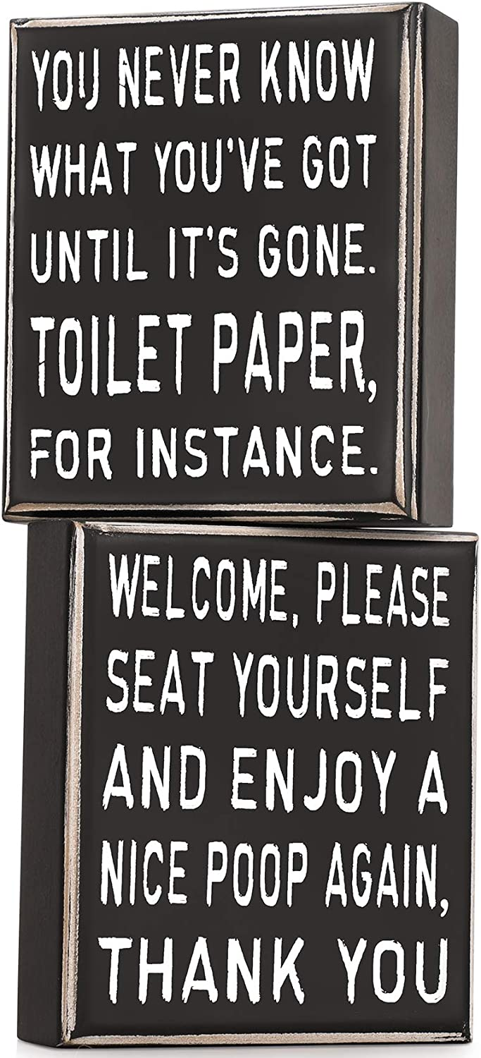 AOZITA 2 Sides, Home Bathroom Decor Classic Box Sign, 5 x 6-Inches, You Never Know What You Have Got Until It's Gone, Farmhouse Rustic Wood Decor for Home Decor Clearance, Wall Shelf