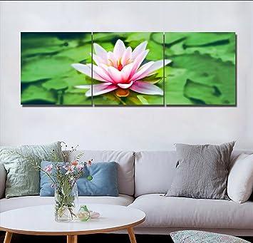LB HD Blumen Landschaft Wand Gemälde Rosa Seerosen Grün Blätter Bild ...