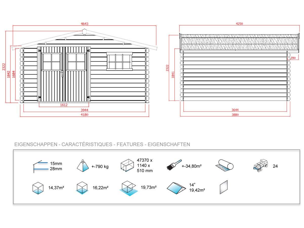 Habitat et Jardin - Caseta de madera para jardín, (19, 72 m², 4, 64 x 4, 25 x 2, 32 m, 28 mm): Amazon.es: Jardín