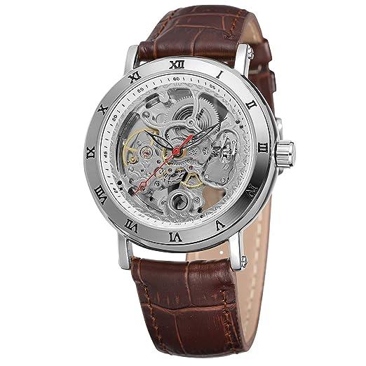 FORSINING - Reloj de Pulsera analógico con Correa de Piel auténtica para Hombre, diseño de Esqueleto: Amazon.es: Relojes
