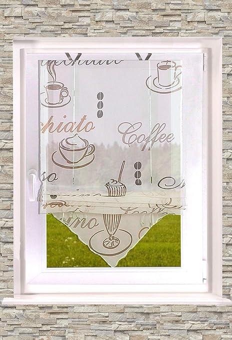 Bedrucktes Raffrollo Kaffee transparent Creme 45-60-80 x 140cm B x H Easyfix Fensterhakenset inkl