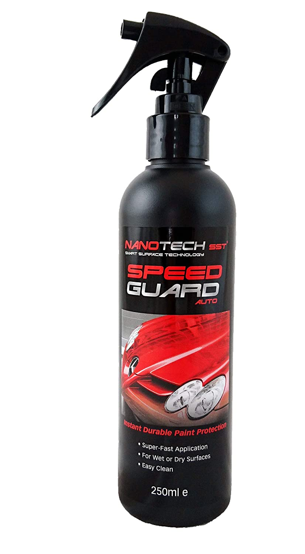 Spray protettivo per auto a rapida applicazione Speed Guard; sostituisce la cera e la lucidatura per auto; realizzato con la nano tecnologia per la pulizia dei rivestimenti; spray protettivo per una maggiore resistenza della vernice delle auto, camper e mo