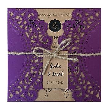 Amazon Com Purple Rustic Wedding Invitation Cyndie Wedding