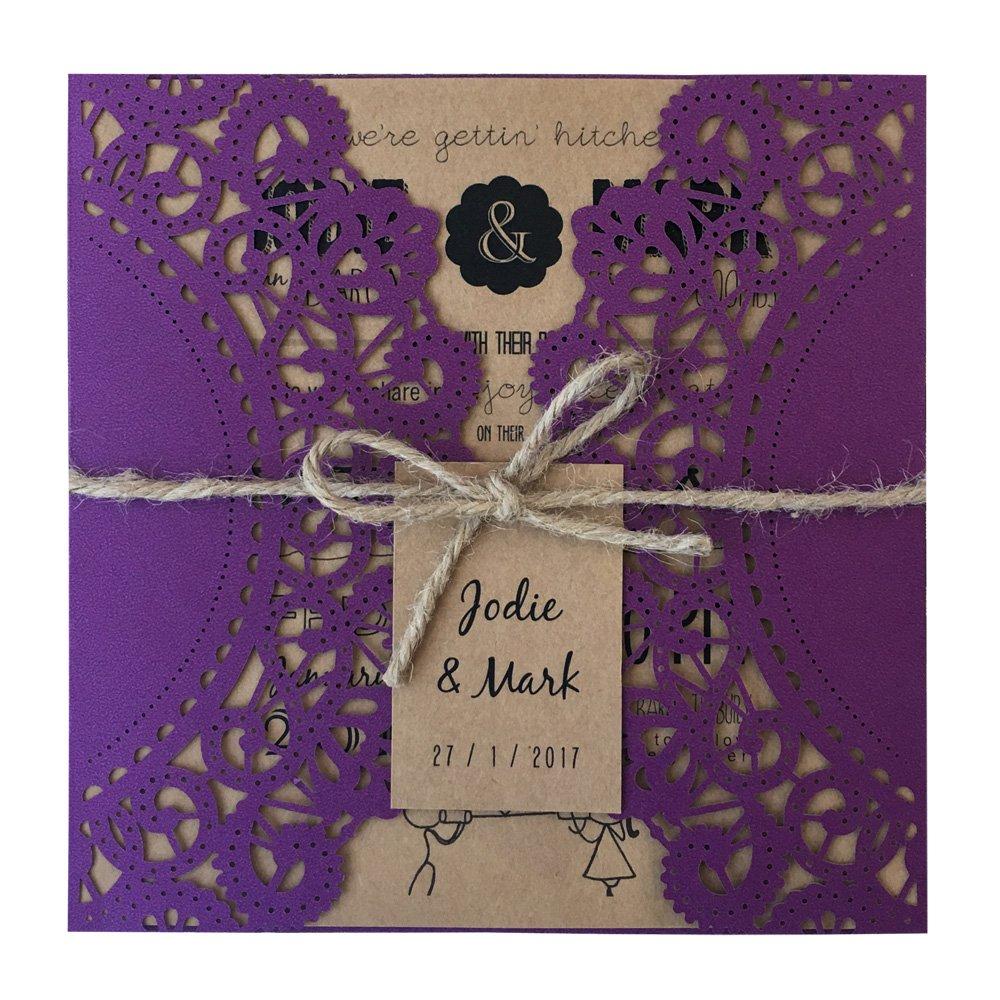 Purple Rustic Wedding Invitation, Cyndie Wedding Invitation Kit - Pack of 50 (Customize Invitation)