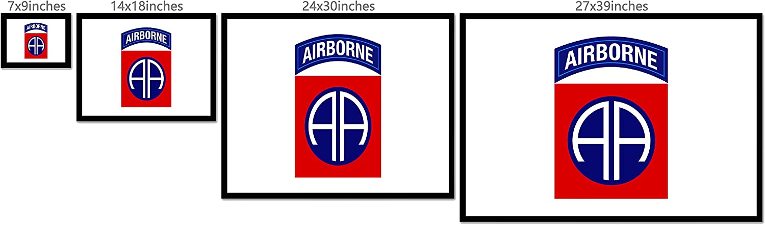 82nd Airborne Division Airborne US Flag Horizontal Poster 12-48 Inches No Frame