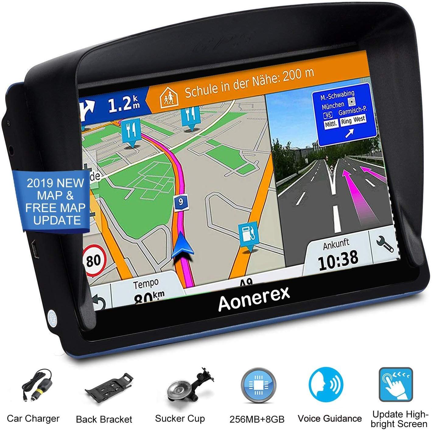 Aonerex Navigationssystem 17 8 Cm 7 Zoll Hd Touchscreen Sprach Navigationssystem Integriertes 8 Gb Und 256 Mb Uk Und Eu Karten Lebenslange Kostenlose Updates Navigation
