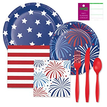American Flag Party Supplies Pack includes u0026quot;Patriotic Patternsu0026quot; themed Paper Plates Napkins  sc 1 st  Amazon.com & Amazon.com: American Flag Party Supplies Pack includes