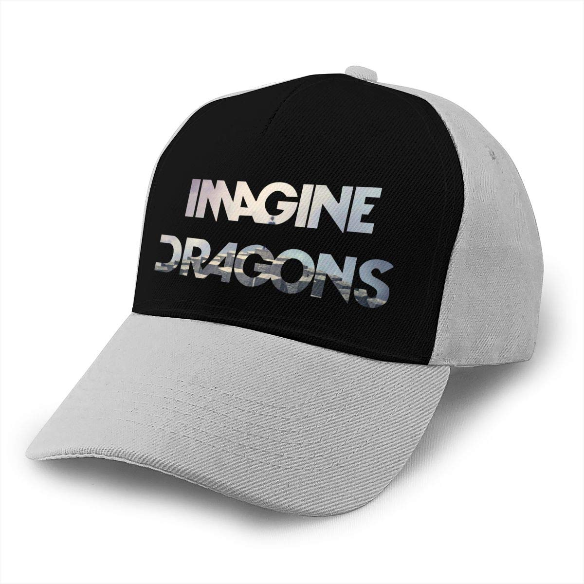Adjustable Women Men Imagine The Dragons Print Baseball Cap Flat Brim Cap Hats Hip Hop Snapback Sun Hat Boys Girls Gray by Apolonia