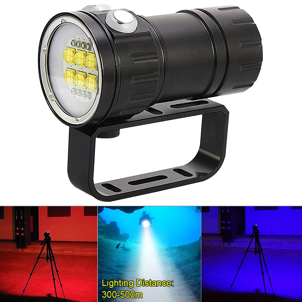 SecurityIng 7 Modes 80m Scuba Diving Underwater Flashlight, Wide Beam Angle Waterproof 28800Lm 6X White XML2 + 4X XPE Red R5 + 4X XPE Blue R5 Light Dive Photography Video Torch(Battery Not Included)