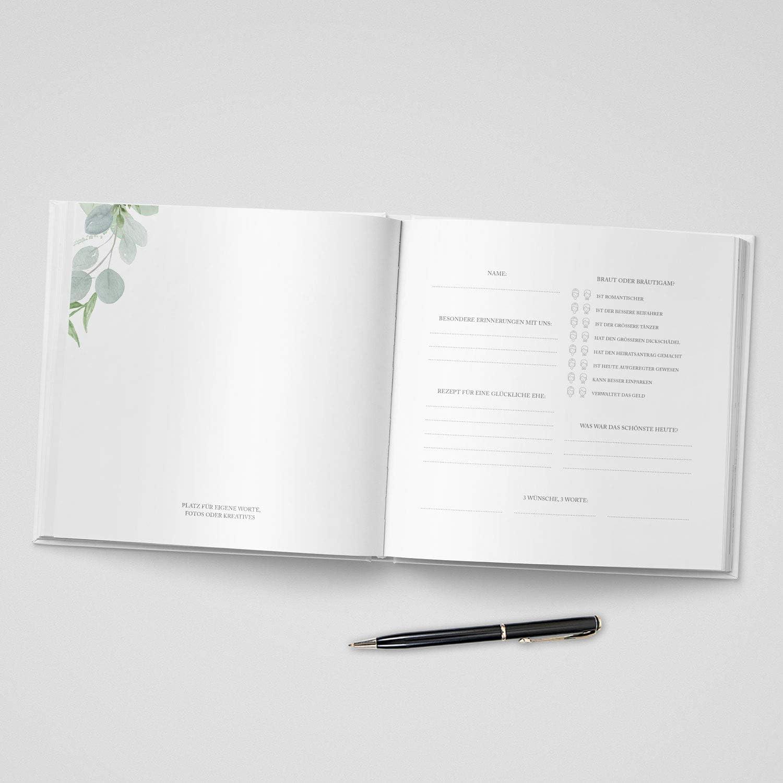 Hardcover Din-A4 104 Seiten Hochzeitsg/ästebuch Hochzeitsalbum Hochzeitsbuch Hochzeitsgeschenk mit Fragen DeinWeddingshop G/ästebuch Hochzeit Boho Love