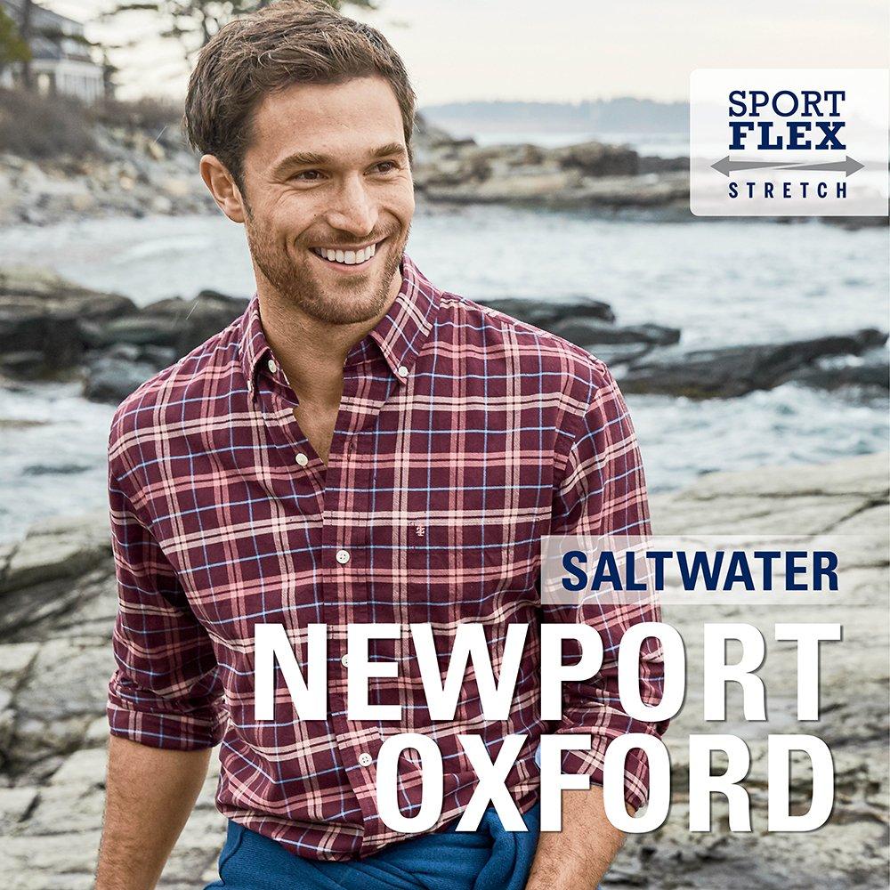 IZOD Mens Newport Long Sleeve Button Down Plaid Oxford Shirt