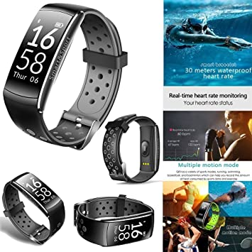 Montre Connectée Podomètre Ip68 Waterproof Frequence Cardiaque,Trackers Dactivité Fitness Tracker,Bracelet