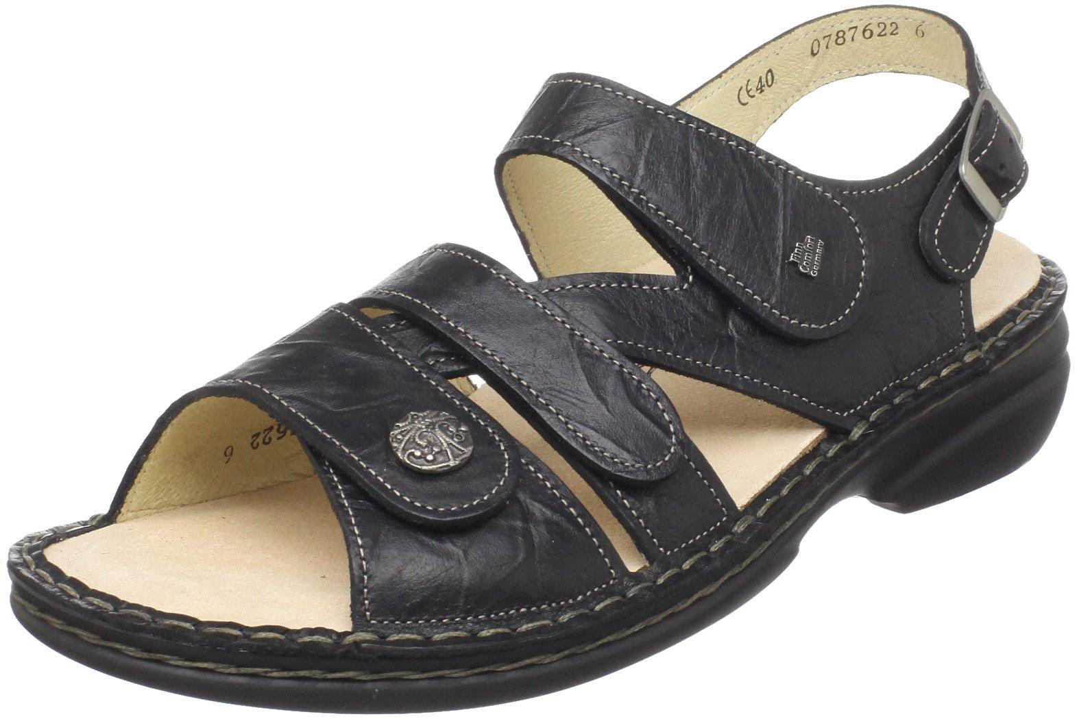 Finn Comfort Women's Gomera Ankle-Strap Sandal,Black Plisseelight,42 EU/11 M US
