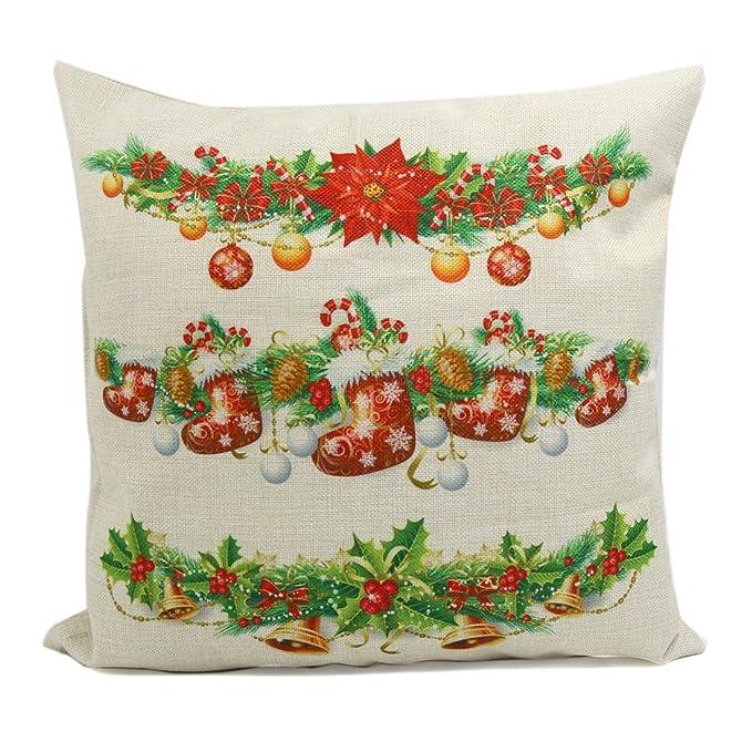 Amazon.com: eDealMax Cuadrado Throw lino Navidad calcetín ...