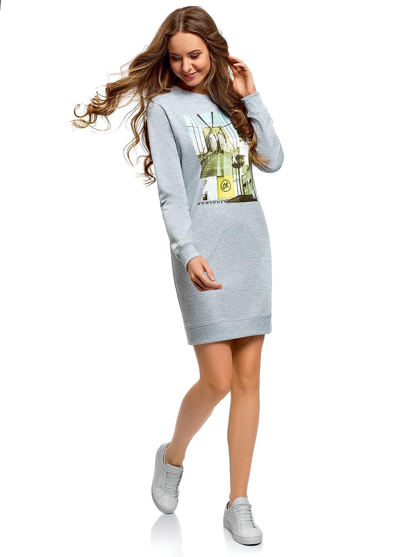 oodji Ultra Mujer Vestido de Estilo Deportivo con Estampado: Amazon.es: Ropa y accesorios