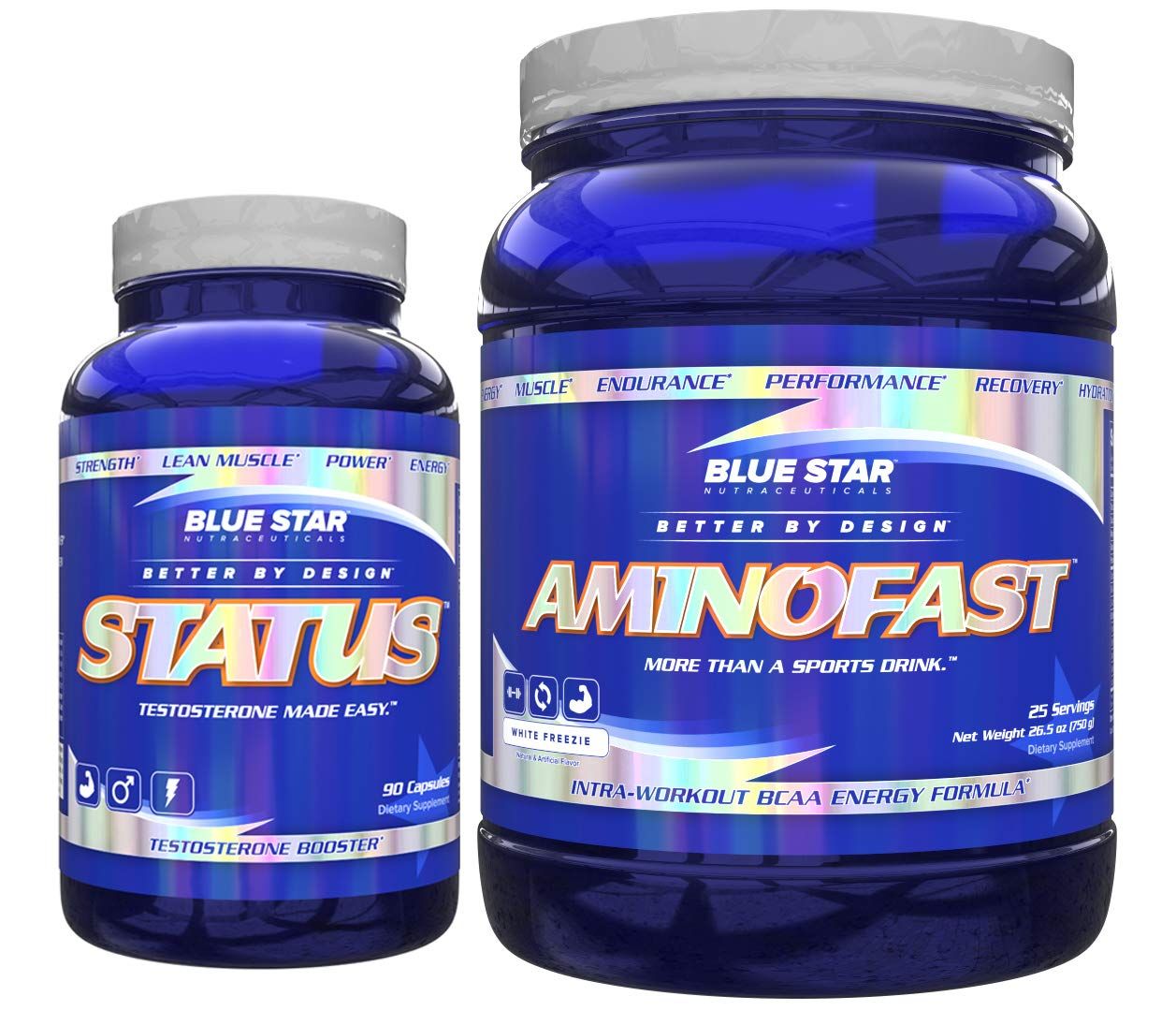 Blue Star Status and AminoFast: Professional Grade Testosterone and Micronutrient Support with Superior Intra-Workout BCAA Energy and Hydration Bundle (White Freezie)
