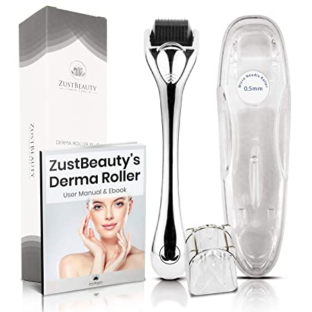 Derma Roller Premium 540 Titanium Micro Needles Set 0.5mm  Skin Care Tool Kit For Face, Body Hair  With Storage Case, Alcohol Container + Free Manual Book  Treats Hyperpgimentation, Acne Scars, Exfoliation by Zust Beauty