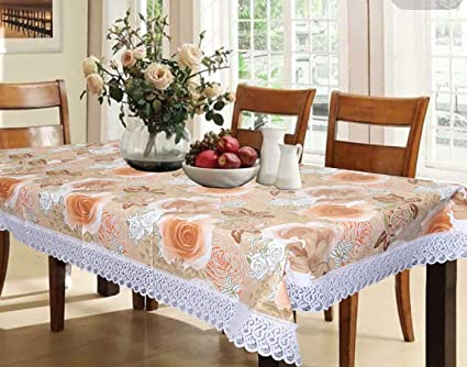 Kuber Industries Flower Design PVC Dining Table Cover - Brown