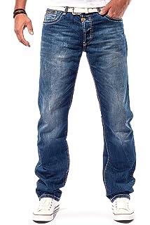 AMP  Cipo Baxx Mens Denim Cargo Denim Washed Chino Trousers Clubwear thick  stitching   BLUE 4d61c479a8