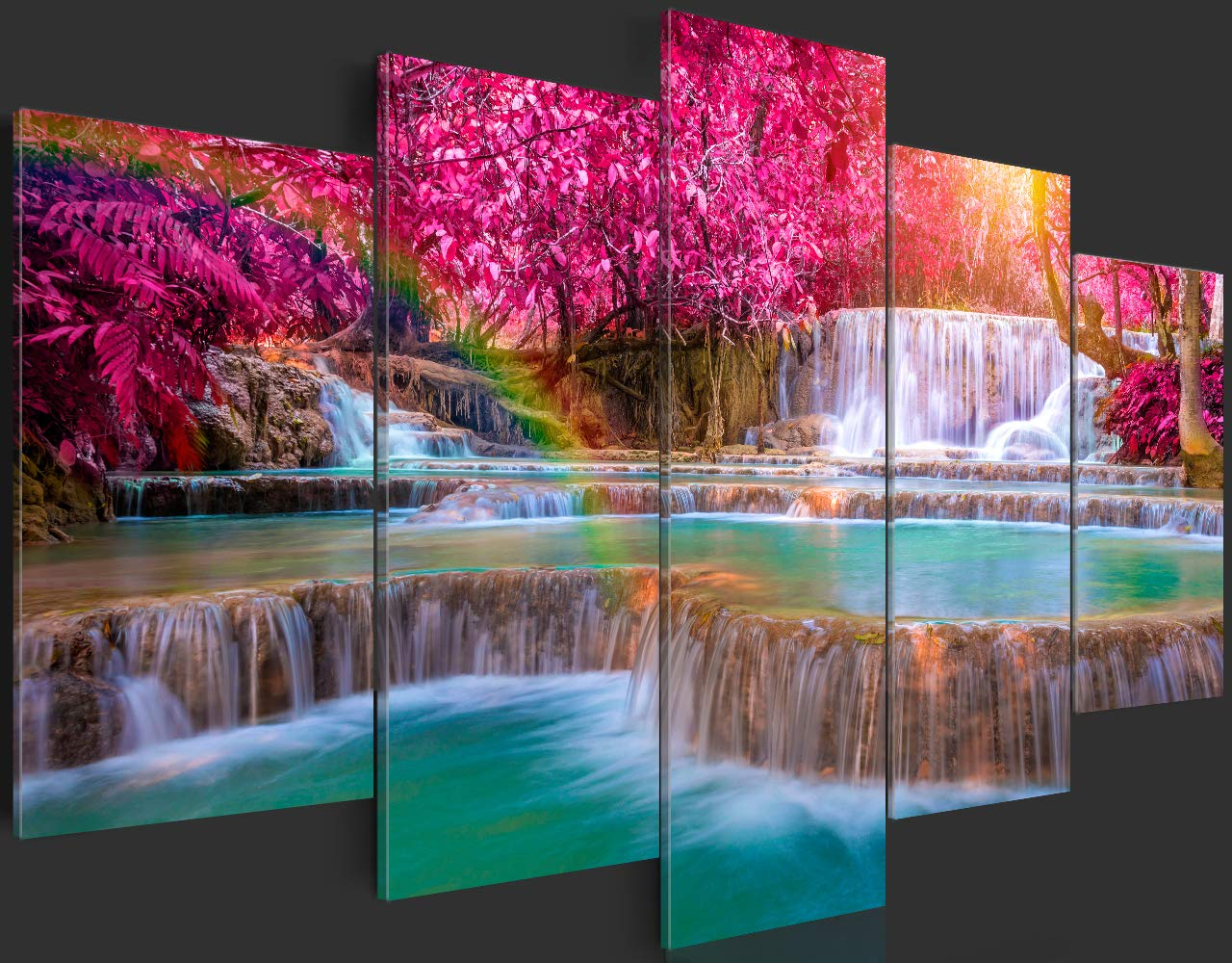 murando Quadro 100x50 cm 5 Pezzi Stampa su Tela in TNT XXL Immagini Moderni Murale Fotografia Grafica Decorazione da Parete Paesaggio Cascata Natura c-B-0128-b-m