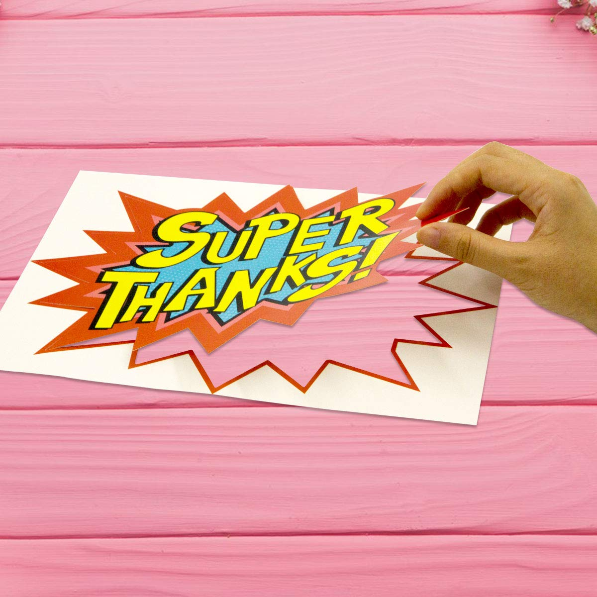 Large Superhero Action Signs Cutouts 12PCS Words and Cityscape Cut-Outs for Party Decoration by Fancy Land (Image #3)
