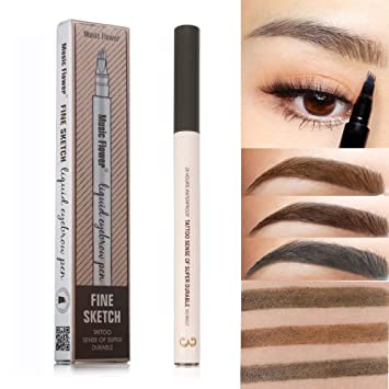Microblading Eyebrow Pen - Four Tips Long-lasting Waterproof Tattoo Liquid  Eyebrow Pencil for