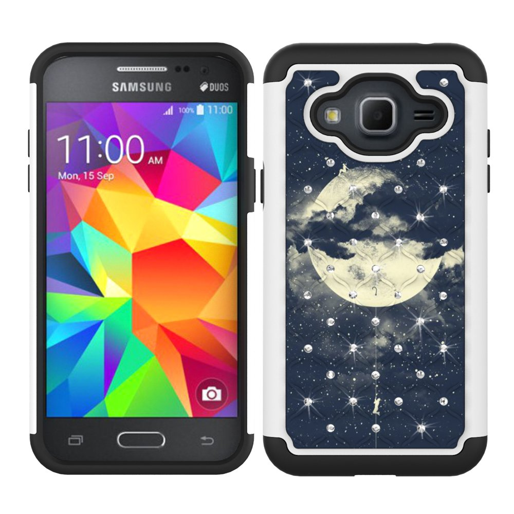 J3 Case, MagicSky [Shock Absorption] Studded Rhinestone Bling Hybrid Dual Layer Armor Defender Cover For Samsung Galaxy J3 (2016) - Night Sky