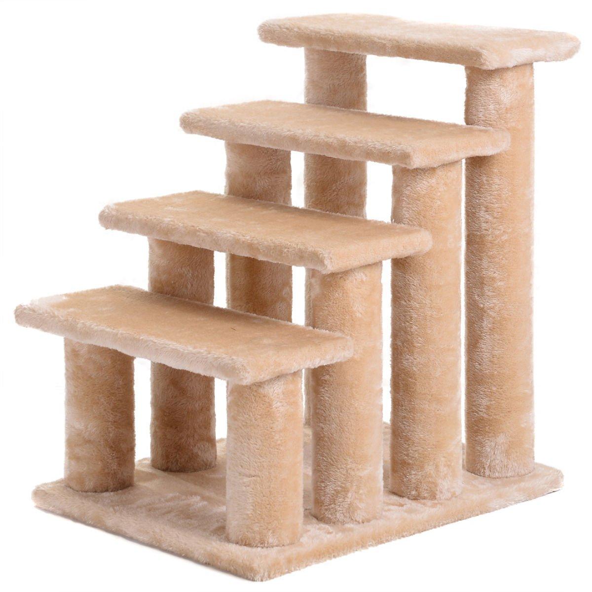 21'' pet ramp cat 4-Step Stairway Perch Scratcher Stairs Dog Ladder Beige