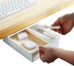 Desk Drawer Organizer with Divider, Large Capacity Pop-Up Student Storage Hidden Desktop Drawer Tray, Great for Office School Home Kitchen Desk (White,1-Pack)