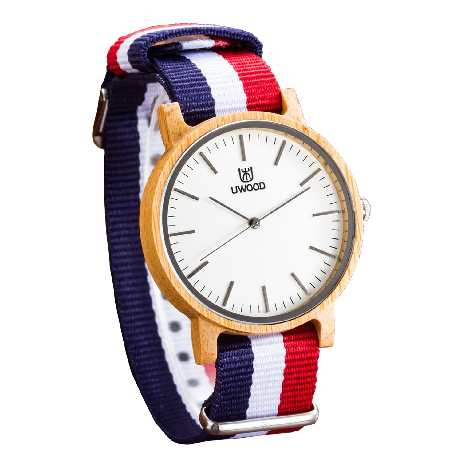 Unisex Wood Watch,UWOOD Analog Boys Wooden Watches,Casual Bamboo Wrist Watch with Nylon Multi-Color Strap