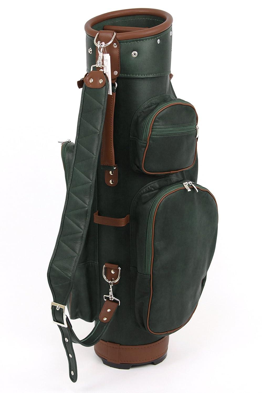 ツェラーゴルフ キャディバッグ ドイツにて完全オーダーメイド 8.5インチ対応 ton-8ziegenleder-25 グリーン×ブラウン ヤギ革 B01E88IO52