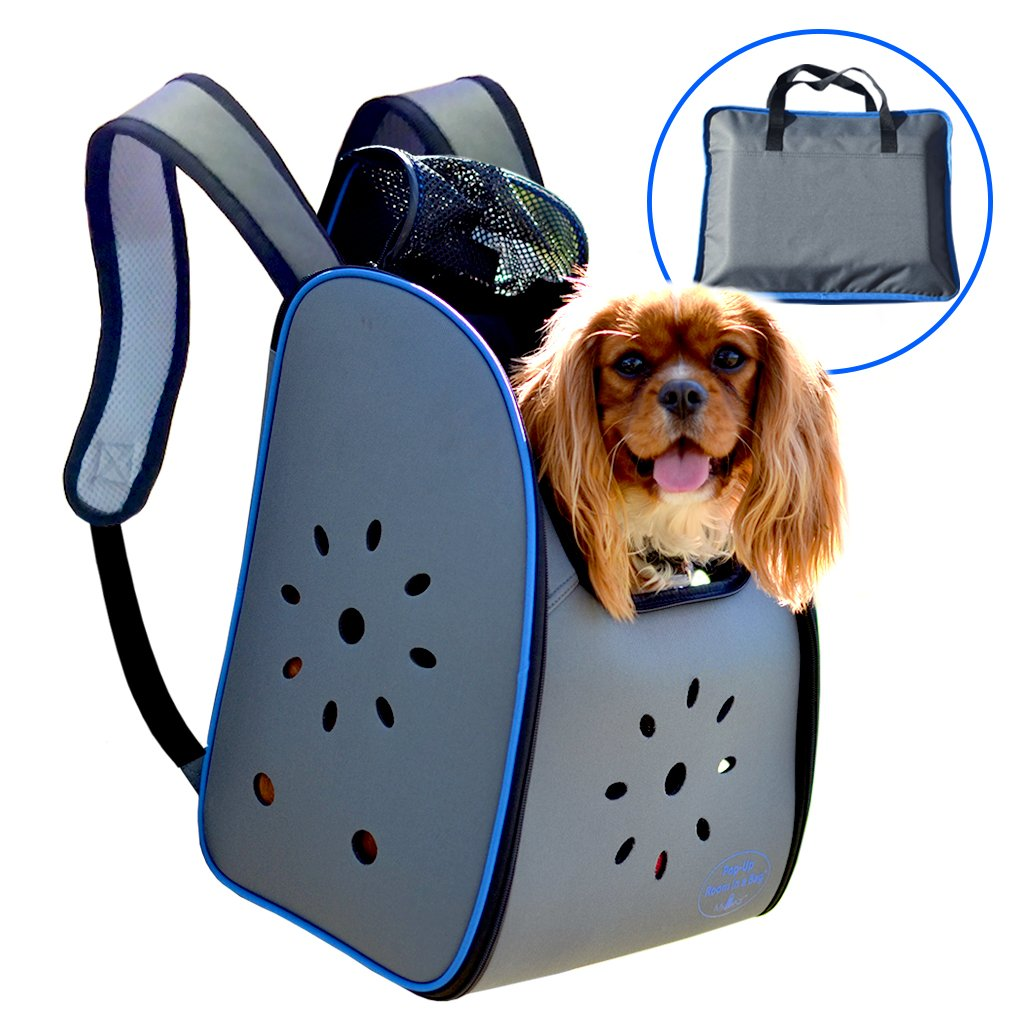 MyDeal Pop Up Pet Carrier Backpack Bag with Weather Resistant Oxford Material, Vented Sides and Zipper Top for Puppies, Dogs, Kittens, Cats, Rabbits + more! Includes Bag