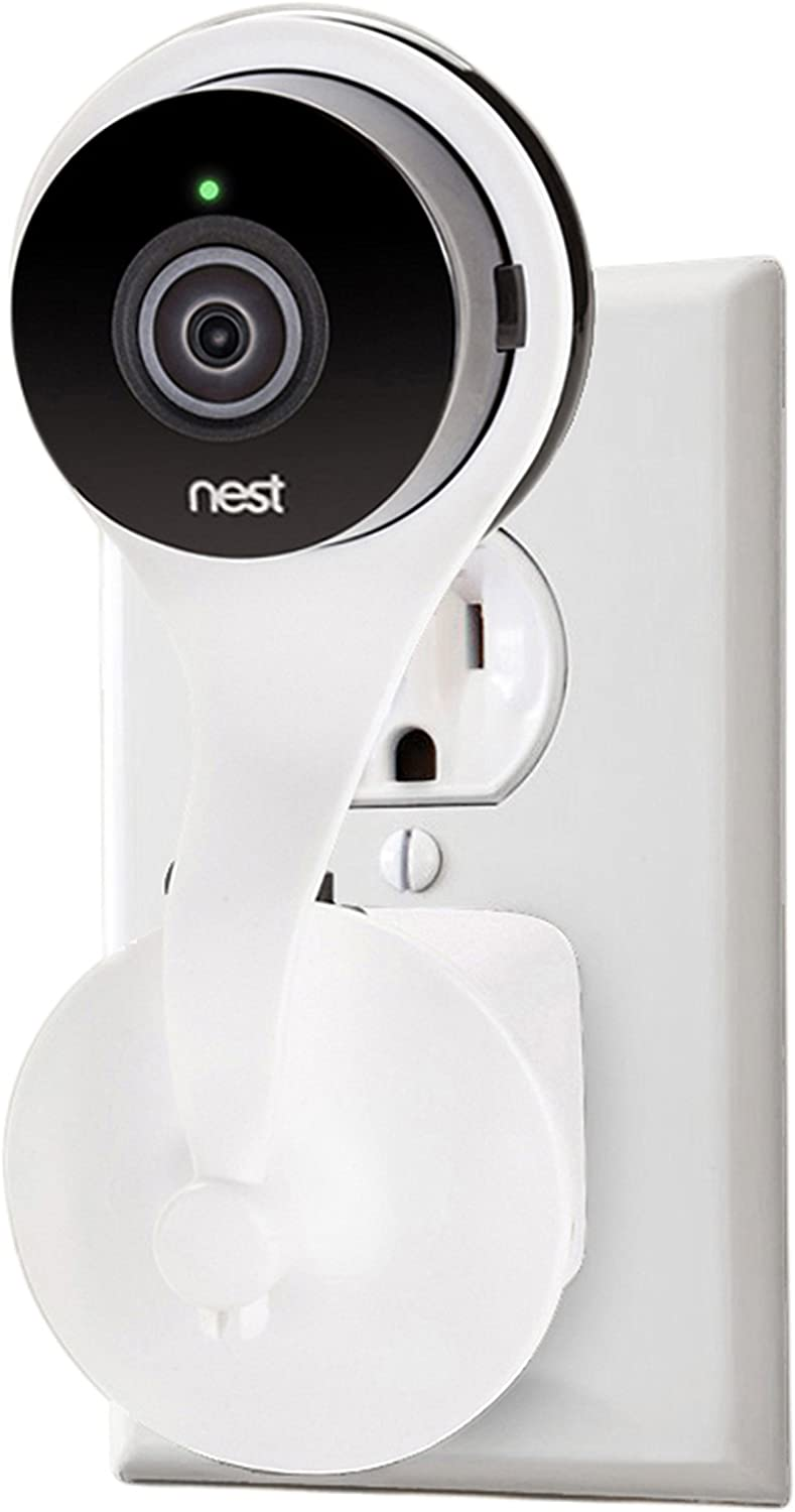 Nest Cam AC Outlet Mount; Wall Mount with 360 Degree Swivel for Nest Cam and Dropcam PRO by Wasserstein (White)