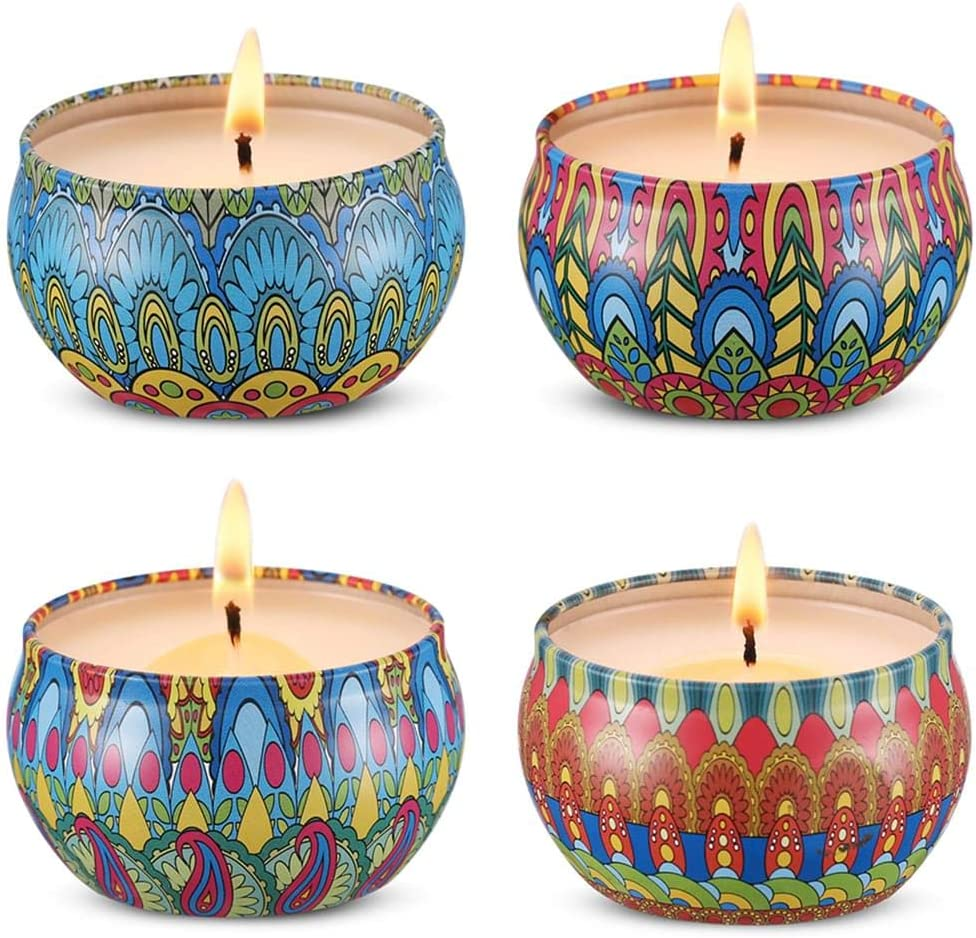 Scented Candles Set 4 Natural Soy Wax with Essential Oil Cotton Wick 10H Up Burning 2.4oz Mini Travel Tin Candle Strongly Floral Fragrances Jasmine Lilac Gardenia Lily in Pack Fresh for Home & Kitchen