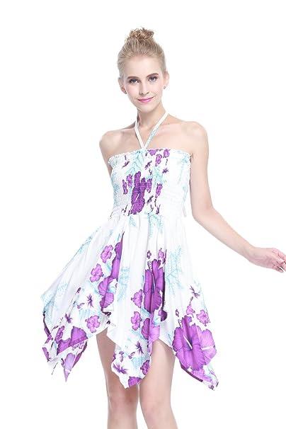 Vestido Gitano Vestido Hawaiano Vestido Luau Vestido de Hada en Blanco con el racimo púrpura