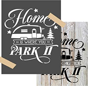 OCCdesign Home is Where You Park It Camping Camp Sign Stencils - Rustic Farmhouse Inspirational Template for Painting Spraying Crafts Décor