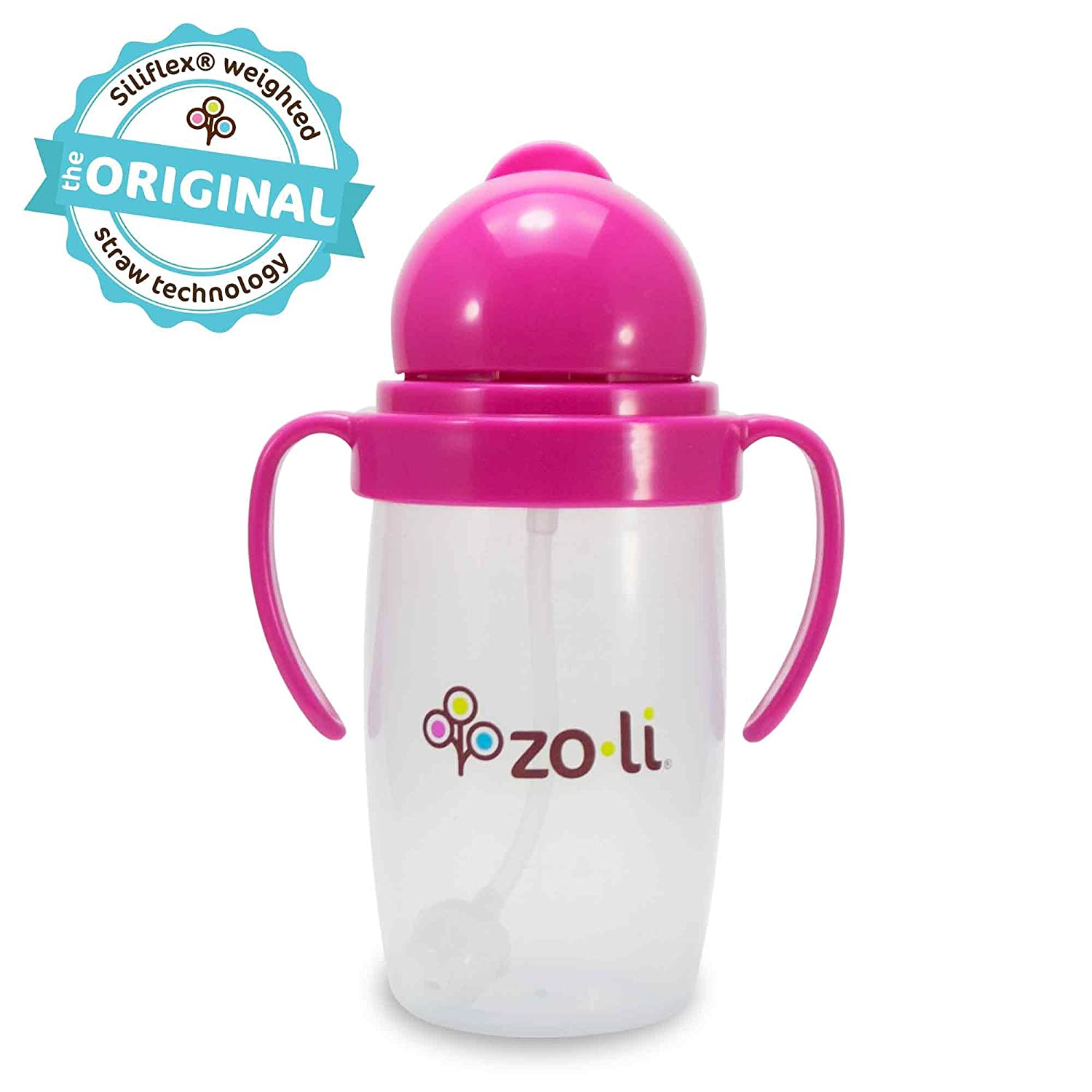 ZoLi BOT 2.0 - 10 oz Straw Sippy Cup (Pink)