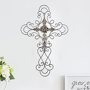 Asense Home Decorative Scrolled Metal Wall Decor Urban Rustic Flower Scrolled Flower Cross Metal Wall Décor
