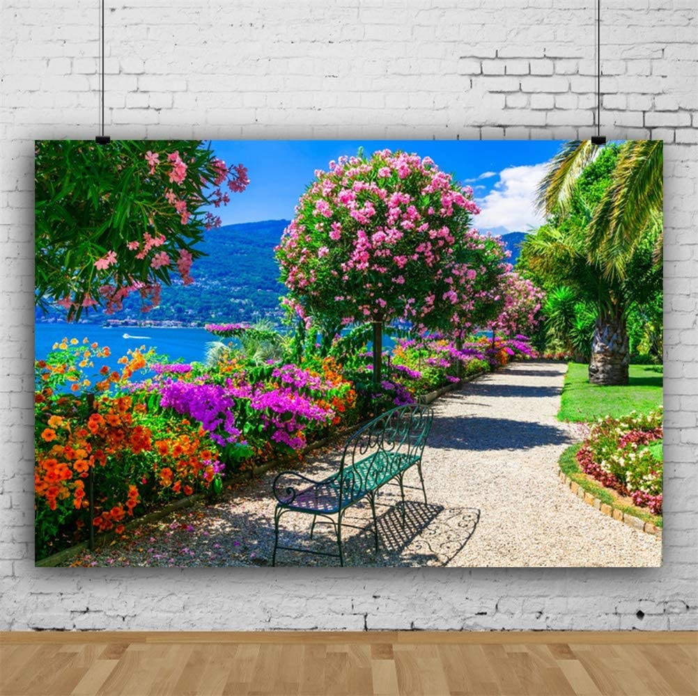 Laeacco 10x7ft Picturesque Seaside Park Scenic Vinyl Photography Background Wedding Photo Backdrop Blossom Trees Colorful Flowers Green Grass Sunshine Clear Weather Remote Mountain Post Card