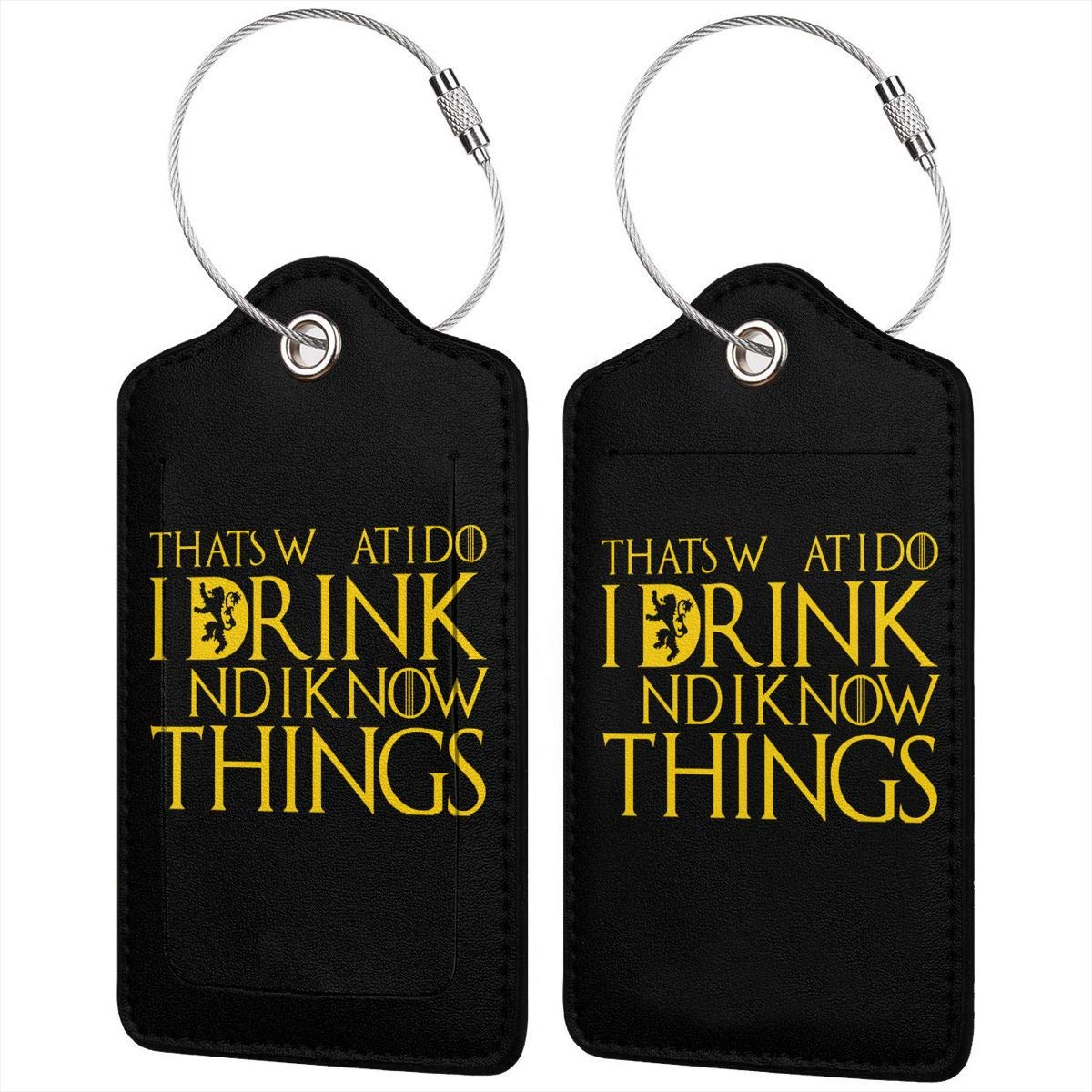 I Drink And Know Things Leather Luggage Tag Travel ID Label For Baggage Suitcase