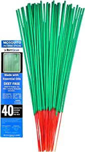 RiptGear Mosquito Repellent for Patio Incense Sticks (40 Pack) - DEET Free Natural Plant Based Ingredients – Made with Citronella, Lemongrass, and Rosemary Oil for Yard and Outdoors