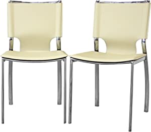Baxton Studio Montclare Ivory Leather Modern Dining Chair, Set of 2