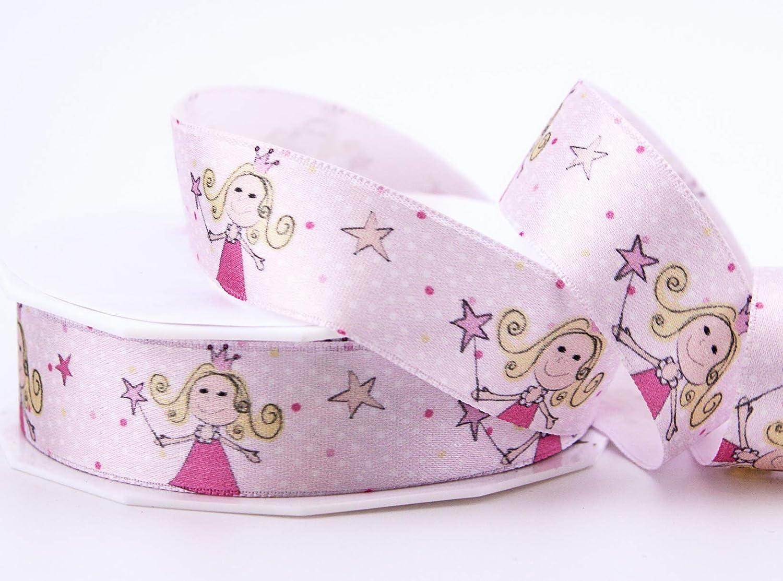 finemark - Cinta de Raso para niña, diseño de Princesa, satén, Rosa, 20 m x 25 mm